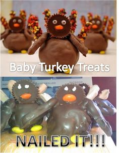 Vh Funny Nailed It baby turkey treats Pin Fails, Funny Fails, Baking Fails, Baby Turkey, Fail Nails, Food Fails, Funny Blogs, Expectation Vs Reality, Pinterest Fails