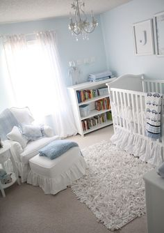 Soft and classic baby boy room. Love the AFK crib and Taylor Scottchair. But incorporate brown and blue