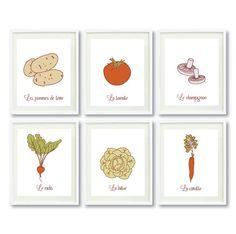 Vegetable Art Print Set with French Names-Kitchen Wall Art - 8x10 - Potato, Tomato, Mushroom, Radish, Lettuce, Carrot-Veggies on Etsy, $70.00