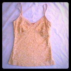 ⚡️PRICE⬇️ Forever 21 Gold lace cami Gold cami w  flowered lace overlay. Sheer lace in back Forever 21 Tops Camisoles
