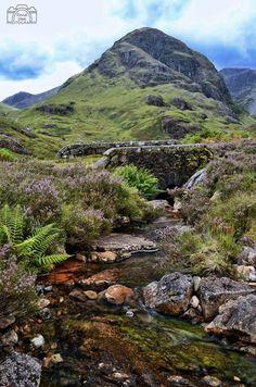 Old bridge & a mountain scene in Glencoe, Scotland
