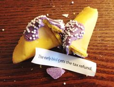 Do you file early or put off doing your taxes until the very last moment? Here's a look at the reasons, some valid some not so justified, so many of up procrastinate at tax time. (Tax filing refund fortune cookie from Ally Bank at FinCon16)
