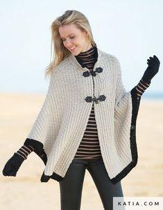 pattern knit crochet woman cape autumn winter katia 6791 25 g