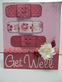 handmade get well card ... bandaids from scraps of print paper ... like the faces drawn with Sharpie pen ...
