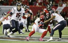 Atlanta Falcons defensive tackle Jonathan Babineaux (95) makes the catch on an interception as Houston Texans wide receiver DeAndre Hopkins (10) tackles and Houston Texans quarterback Ryan Mallett (15) defends  during the first half of an NFL football game, Sunday, Oct. 4, 2015, in Atlanta. (AP Photo/David Goldman)