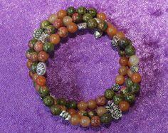 Handmade gemstone memory wire bracelet. Unakite and Adventurine beads. Oppurtunity Confidence Action gemstone. Hand made in Australia