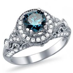 1.35ct Blue Round Diamond Engagement Ring 14k White Gold Vintage Style Front Jewelers. $1970.00