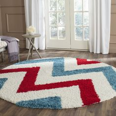 Found it at Wayfair - Kids Ivory & Red Shag Area Rug
