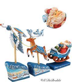 Derevo Santa on Sleight with Reindeer and Christmas Scene