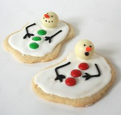 Melted Snowmen Decorated Cookies