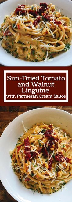 Ready in less than 30 minutes. A Parmesan cream sauce is the base for letting the walnuts and sun-dried tomatoes shine. Add some sausage or chicken for the meat lovers. Pasta Recipes, Dinner Recipes, Cooking Recipes, Chicken Recipes, Linguine Recipes, Sauce Recipes, Recetas Puertorriqueñas, Parmesan Cream Sauce, Vegetarian Recipes
