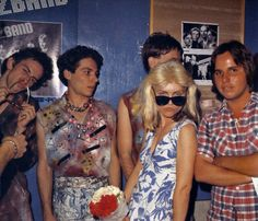 Debbie with LA punk band The Weirdos in 1977, and Blondie fan club president Jeffrey Lee Pierce on the right.