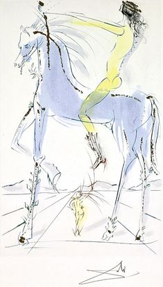 Salvador Dali (1904-1989), 1971, The Beloved is as Fair as a Company of Horses (Song of Songs of King Solomon), etching.