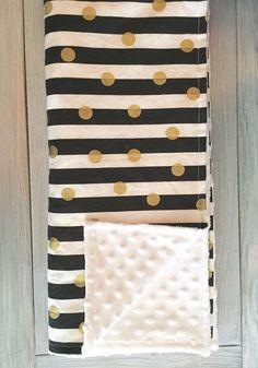 Black white gold minky baby blanket - gender neutral - metallic gold dot - black and white nursery - stripes polka dot - baby shower gift by WilderAndBean on Etsy https://www.etsy.com/listing/241091889/black-white-gold-minky-baby-blanket