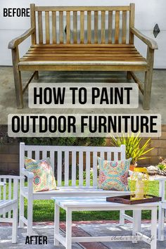 The best step by step guide for painting outdoor wood furniture. Simple tips and tricks to make painted patio furniture last a long time! #AnikasDIYLife #Outdoors #paintingtips