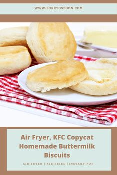 Air Fryer, KFC Copycat Homemade Buttermilk Biscuits - Fork To Spoon Kfc Chicken Recipe Baked, Chicken Recipes, Bread Recipes, Best Biscuit Recipe, Baking Powder Biscuits, Homemade Buttermilk Biscuits, Cheesecake Factory Recipes, Sausage Gravy, Air Fryer Recipes