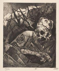 Otto Dix. Corpse in barbed wire - Flanders [Leiche im Drahtverhau - Flandern] 1924
