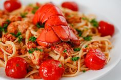 Online Recipe from HTMi Hotel and Tourism Management Institute Switzerland – Lobster Pasta Lobster Spaghetti, Lobster Pasta, Seafood Pasta, Fish And Seafood, Fish Pasta, Lobster Rolls, Seafood Dishes, Lobster Recipes, Shrimp Recipes
