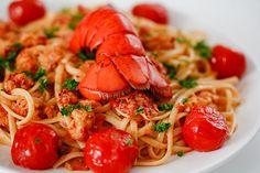 Greek Lobster Pasta. simpler version: http://mygreekbooking.wordpress.com/2012/03/18/for-seafood-lovers-astakomakaronada-lobster-pasta/