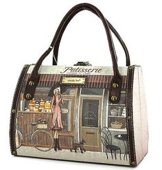 Amazon.com: Nicole Lee Pastisserie Purse Parisian Print Body Tote Bag: Clothing