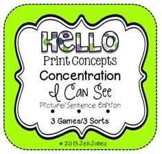 "Hello Literacy Print Concepts Concentration Literacy Games & Sorts ""I Can See..."" Edition"