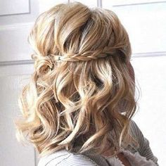 Short Curled Hair with Braid Half Updo