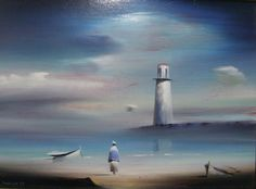Lighthouse 1987 by Robert Watson, Original Painting, Oil on Canvas Selling Art Online, Online Art, Waterfall Paintings, Lighthouse Art, Beautiful Paintings, Great Artists, Art For Sale, Landscape Paintings, Original Paintings
