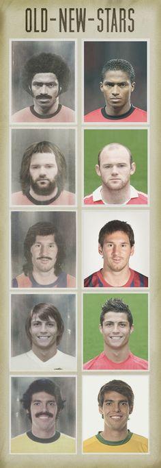 Imágenes Vintage de Antonio Valencia, Wayne Rooney, Leo Messi, Cristiano Ronaldo y Kaka, hace 40 años
