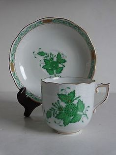 c1920 Herend Porcelain Green CHINESE BOUQUET Demitasse Cup Saucer
