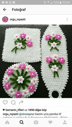 This Pin was discovered by yar Crochet Table Mat, Crochet Books, Crewel Embroidery, Needle And Thread, Crochet Baby, Crochet Projects, Lana, Tatting, Diy And Crafts
