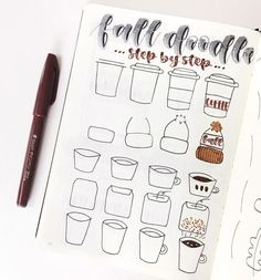 """Gorgeous Featured BuJo's on Instagram: """"Reposting @eliana.journals:⠀ ...⠀ """"These were some of the Fall doodles that were in my November cover! Hope you guys found this helpful:)…"""""""