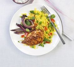 Chicken tikka with spiced rice