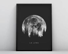 Full Moon Poster Art, Digital Download La Luna Moon Poster, Lunar Moon Print, Vintage Luna Print, Solar System Art, Celestial Dorm Room Art