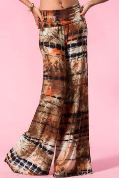 Rust Tie Dye Wide Leg Pants