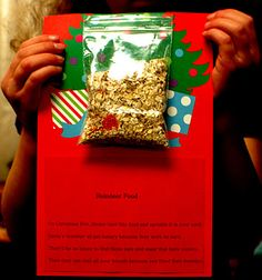 Reindeer Food, with a message designed to make the kids think about giving, not receiving.
