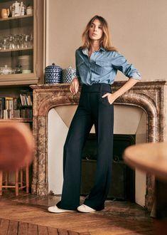 Sézane - César Trousers Trouser Outfits, Casual Outfits, Fashion Outfits, Fashion Ideas, Fashion Inspiration, Dress Like A Parisian, Parisian Style, Transport Routier, Fashion Identity