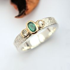 Emerald and white Sapphire silver and gold ring Gold And Silver Rings, Silver Jewelry, Bespoke Jewellery, White Sapphire, Bronze Sculpture, Metal Working, Emerald, Gemstone Rings, Jewels