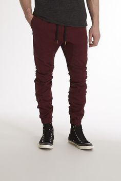 $99, Burgundy Chinos: Zanerobe Sureshot Chino Jogger Pant. Sold by JackThreads. Click for more info: https://lookastic.com/men/shop_items/231758/redirect