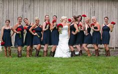 Cutest 4th of July wedding idea...red white and blue! I LOVE this look minus the cowboy boots!!!