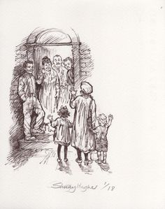 Original drawing by Shirley Hughes (from The Christmas Eve Ghost) Magazine Illustration, Children's Book Illustration, Best Children Books, Childrens Books, Shirley Hughes, British Books, Children Sketch, British Traditions, Edmund Dulac