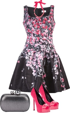 """""""Untitled #3319"""" by marlilu on Polyvore  could never wear these shoes - or carry a bag like this - but love the dress..."""