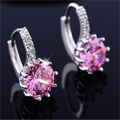 Silver Pink Blue Crystal Large Crystal Earrings