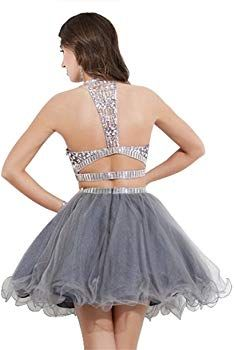 0a97b448699 MARSEN Women s Two Pieces Halter Homecoming Short Formal Prom Dress Grey  Size 24  Amazon.