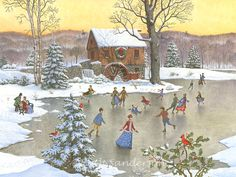 """""""Skating at the Mill Pond"""" by Ruth Sanderson"""