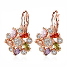 Colorful Pink Gold 1 Jewelry Magazine Wave Four Petals Flowers Zircon Color Full Diamond Earrings Mona Lisa Ear Buckle Does Not Fade, Rose Gold Drop Earrings, Crystal Earrings, Dangle Earrings, Diamond Earrings, Crystal Fashion, Cubic Zirconia Earrings, Wholesale Jewelry, Fashion Earrings, Antique Jewelry