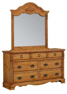 Georgetown Traditional Honey Pine Wood Glass Dresser & Mirror
