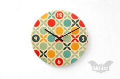 Retro Wall Clock 20cm  Pop Design  Retro  Black metal by BatLab