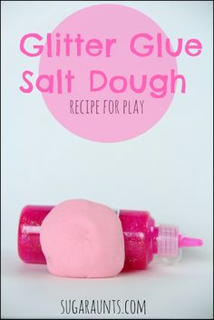 DIY Salt Dough recipe with sparkly, sticky glitter glue. This is very cool-the texture is stretchy and rubbery. Great for sensory play!