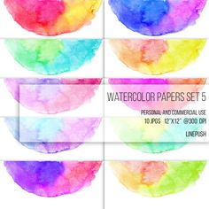 SALE! Watercolor papers. Watercolor borders headers and footers. Digital papers. Rainbow colors. Stained bright pastel colors. Scrapbooking material by LinePush on Etsy. invitation card designs, rsvp designs, wedding card designs, rainbow, design elements, clip art,