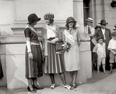1921. Inter-City Beauties Ethel Charles, Nellie Orr and Margaret Gorman at Union Station in Washington, D.C. Margaret would be crowned winner at the very first Miss America pageant.